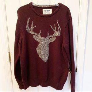Urban Pipeline Burgundy Deer Intarsia Sweater XL